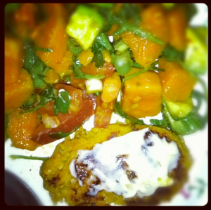 Sweet potato salad with pumpkin chickpea fritters